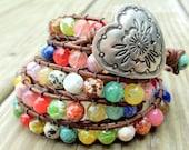 Southwestern Turquoise Beaded Leather Wrap Bracelet 5X, Boho bohemian, beach jewelry, natural earthy, gemstone bracelet