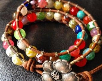 Multi Gemstone Beaded leather wrap bracelet with a flower, double wrap, colorful bracelet, lapis lazuli turquoise labradorite bronzite