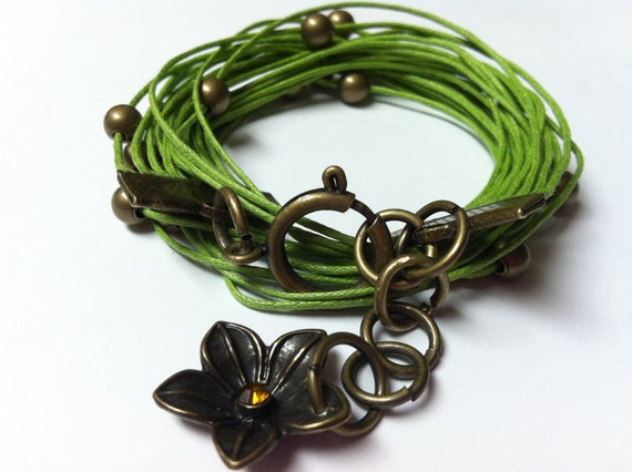 RESERVED LISTING Green Wrap Bracelet With Brass flower charms Double wrap-Ships IMMEDIATELY From Vermont
