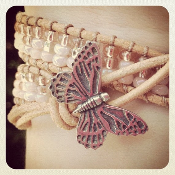 Pink Beaded Leather wrap bracelet with butterfly button, peach double wrap bracelet