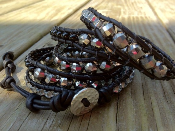 Black and Silver Leather Wrap Bracelet, metallic bracelet, black edgy wrap bracelet, black leather,