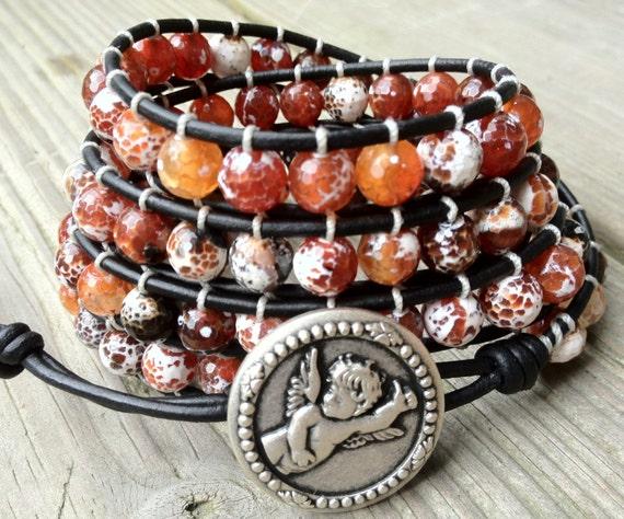 Fire Agate Leather Wrap Bracelet 4X Wrap, boho bohemian jewelry, leather bracelet, charm bracelet, elephant charm bracelet