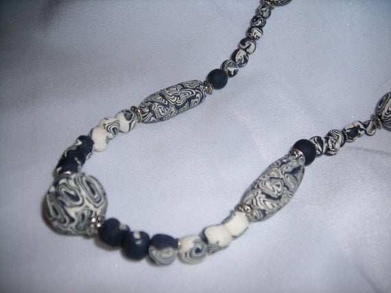 Handmade polymer bead, black and white necklace - Sale 10% off
