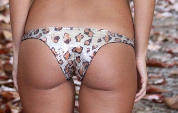 Seamless Brazilian Gold Brown Metallic Animal Print Bikini Bottoms