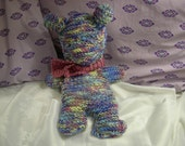 Multicolored Knitted Teddy Bear w/ Scarf Blue Yellow Pink Indigo Violet - Valentine's Day