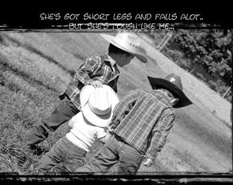 """Photo  """"TOUGH LIKE ME""""  Little Cowboy Series of Metallic Prints by Lu Johnson"""