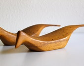 vintage mid century modern Taverneau wooden birds for serving appetizers and hors d'oeuvres