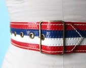 vintage 70s patent vinyl red white and blue glam rock belt // size xxsmall xsmall small medium