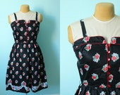 vintage swiss miss / rockabilly pinup girl dress // NOS // black and red roses // size medium to large