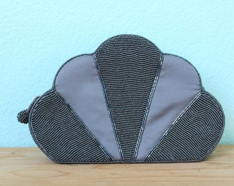 vintage gunmetal grey silver beaded art deco style cloud shaped clutch purse