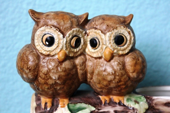 reserved // vintage 1960s kitsch owls in love / home is where the heart is / anniversary gift planter by Josef Originals