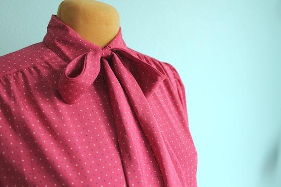 vintage pink secretary blouse // ascot // bowtie blouse // medium to large
