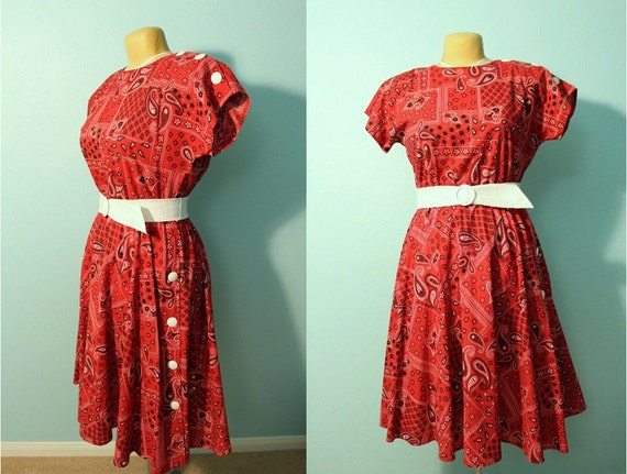 SALE // vintage 80s rockabilly country western red bandana dress // size 12 // large