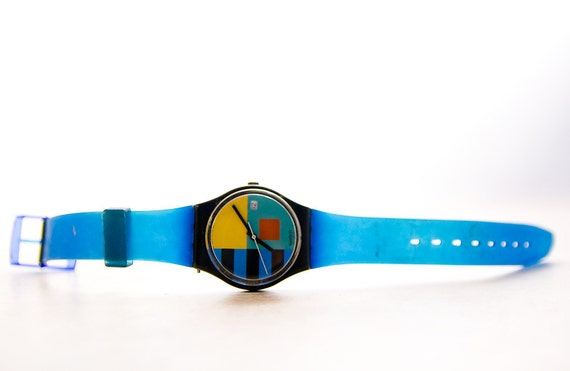 Vintage Swatch Watch . Rare . Blue geometric .