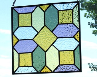 Victorian Reproduction Geometric Design Stained Glass  Window -- Reduced!