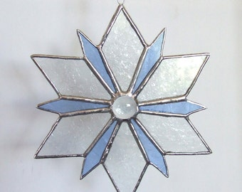 Frosty Blue Snowflake in Stained Glass with Glass Nugget Center 6""