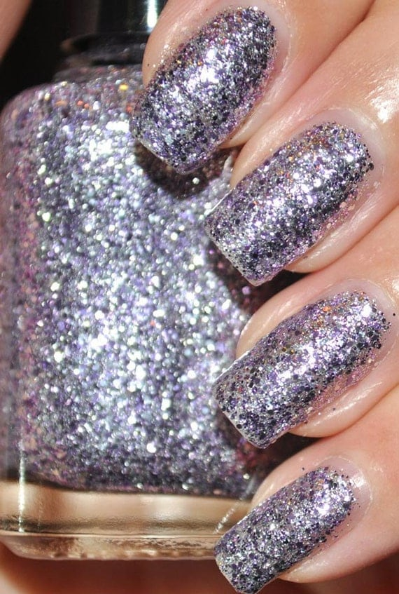 Vote For Purple Lavender and Silver Glitter Nail Polish 15ml (.5oz)