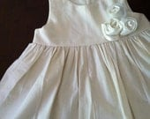 Flower girl dress .. with ROSES and SATIN handmade
