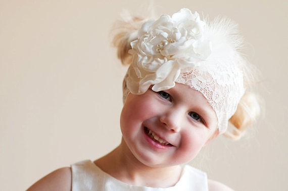The Peony Headband: Flower girl or bridesmaid headband - vintage wedding - 1920s wedding lace headband