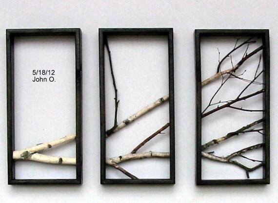 Birch Branch Wall Hanging Triptych,Original Art, Rustic Art, 3d wall Art.
