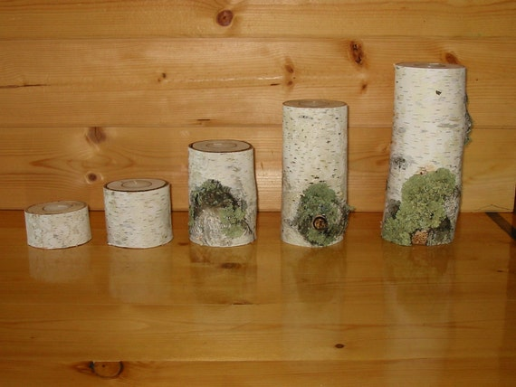 Birch Tea Light Candle Holders - Set of 5, Shabby Chic, Rustic, Wedding Decor, center piece, wedding, candle