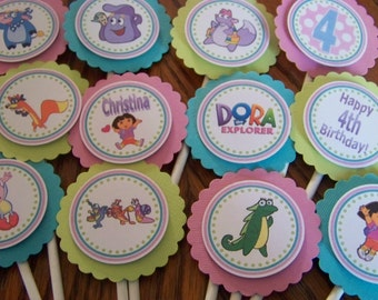 Dora The Explorer Cupcake Toppers-Dora Cupcake Toppers-Dora Birthday Decoration-Dora Party Decoration-Dora Cupcake Topper-Dora Party
