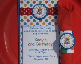 Winnie the Pooh Birthday Party Set-Pooh Party Set-Winnie The Pooh Invitations-Pooh Favor Tags-Pooh Birthday Party-Pooh Napkin Rings