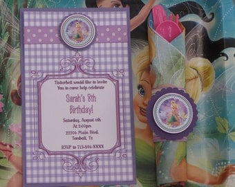 Tinkerbell Birthday Party Set-Tinkerbell Party Set-Tinkerbell Birthday Decoration-Tinkerbell Party Decoration-Purple Invitation