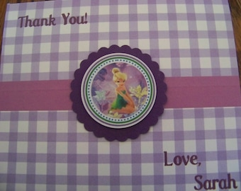 Tinkerbell Thank You Cards-Tinkerbell Note Cards-Tinkerbell Birthday Thank You Cards-Tinkerbell Thank You Notes-Tinkerbell Party Thank You