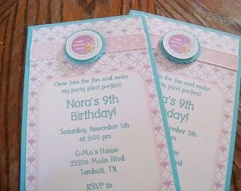 Tinkerbell Invitations-Tinkerbell Birthday Invitations-Tinkerbell Party Invitations-Fairy Dust Invitations-Girl's Birthday Invitations