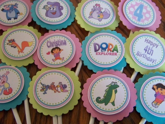 NEW Dora the Explorer Cupcake Toppers-Customized-Set of 12-For Regular Sized Cupcakes