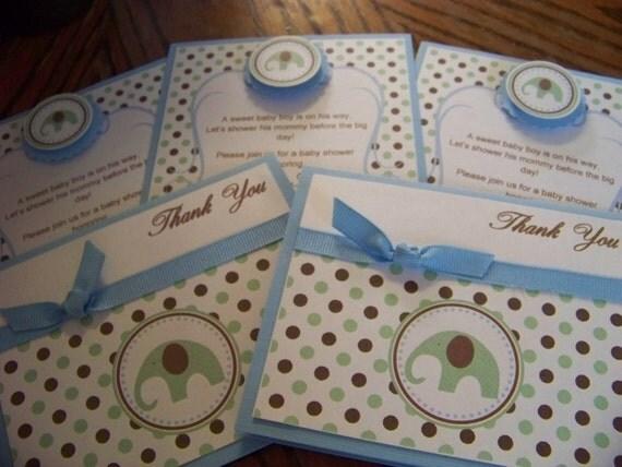 Elephant Baby Shower Invitations-Elephant Thank You Cards-Baby Shower Invitation-Baby Shower Thank You Cards-Baby Blue Invitation