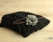 Black Stretchy Knit Newborn Wrap with Matching Headband