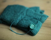 Teal Stretchy Knit Newborn Wrap with Matching Headband