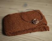 Rust Newborn Knit Wrap with Matching Headband