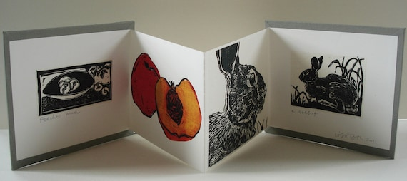 Handmade accordion book:  Peaches and a Rabbit