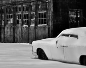 Black and White Digital Photography Print - wide crop 4x12 -Vintage Abandoned Car and Building