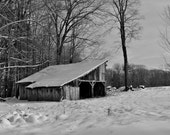 Black and White Photography Print - 8x10 - Abandoned Barn - Vintage