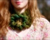 Moss Green Woodland Crocheted Neck Warmer