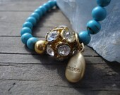 Trendy Blue Turquoise Stretch Bracelet