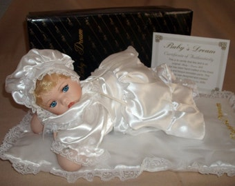 Baby's Dream collectible 12 in Porcelain doll With Matching pillow