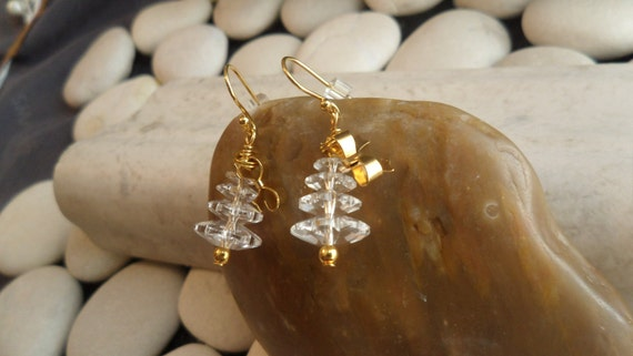 Clear Swarovski Christmas Trees w/ 14kt gold findings