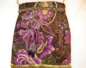 Gold and Purple Velvet Purse -- Beaded Flower