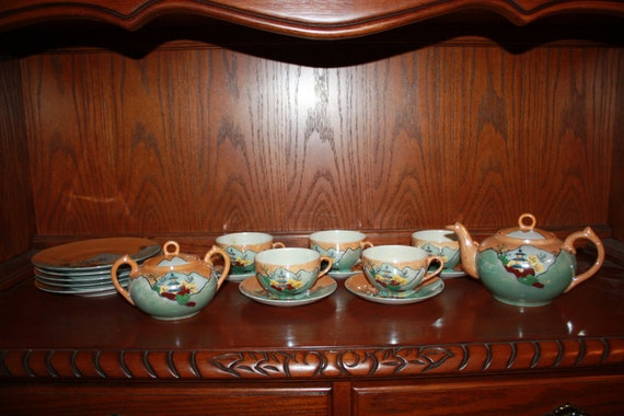 PRICE REDUCTION - Stunning Pre World War II Japanese Tea Set Full Size Hand Painted 19 pieces