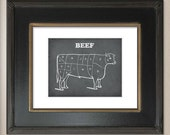 Beef - The Carving Sections of a Cow - Printed on 8.5x11 Borderless Matte Paper