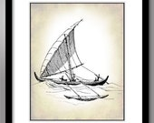 The Sailboat has Set Sail - Nautical Ship Print on 8x10 Matte Finish
