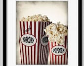 Popcorn at The Theater - graphic illustration design archival giclee art print 8x10