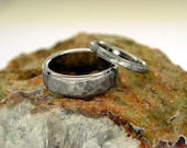 Titanium Matched Pair - His and Hers - Hammered Satin with Polished Edges Titanium Ring - MapleBearJewelry