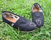 Heart Toes Custom Toms (Both Shoes)