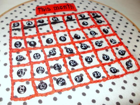 Hand-Embroidered Calendar Hoop Art With Push Pins Cork Inside